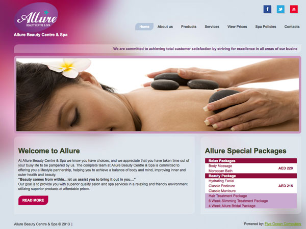 web design dubai portfolio Allure Beauty Centre & Spa